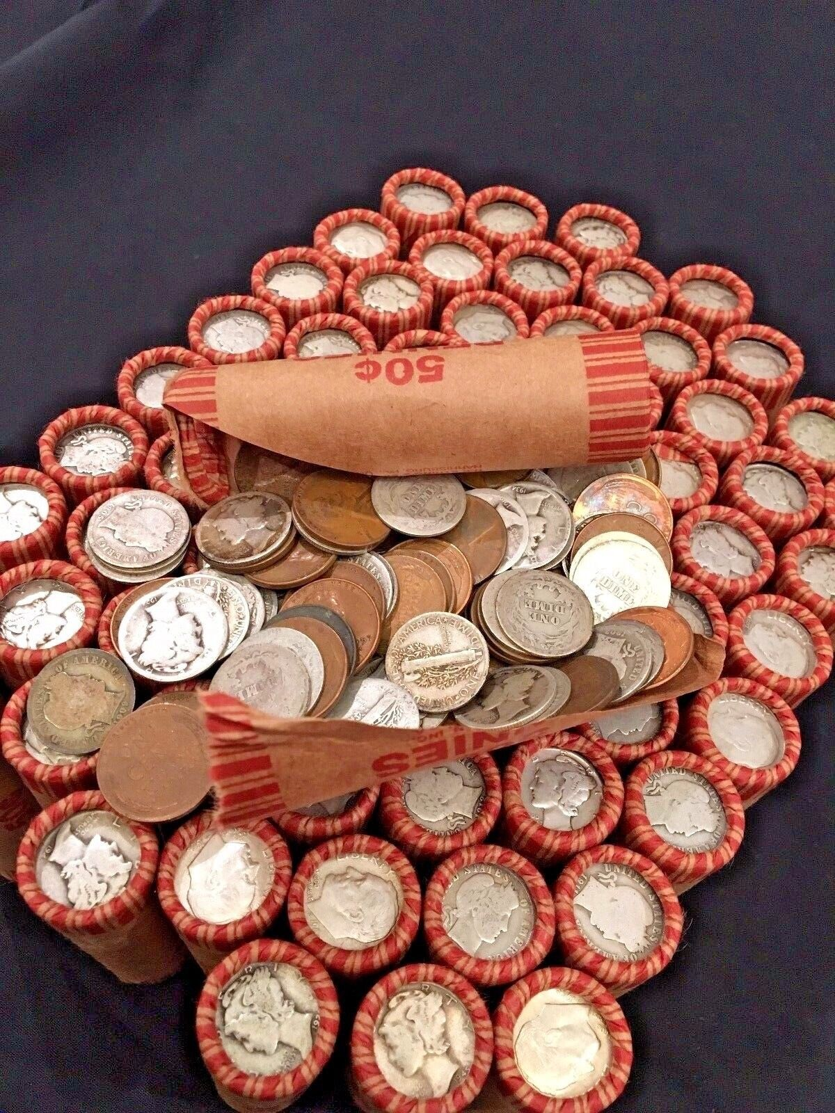 OLD US SILVER DIMES COINS WHEAT PENNY LINCOLN CENT BANK ROLL INDIAN HEAD VINTAGE