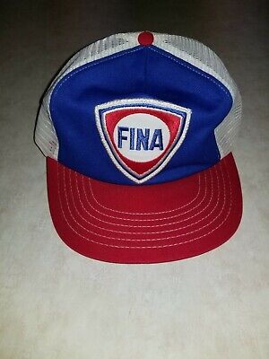 VINTAGE 80s FINA Gas Service Station Red White & Blue Trucker Cap Patch Hat USA