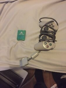 2 ps1 controllers and memory card