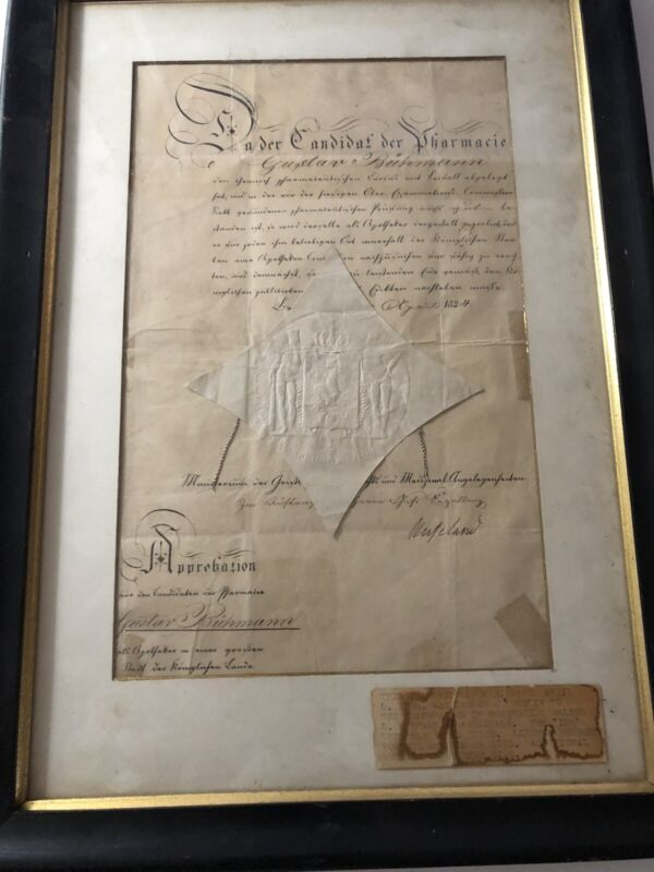 RARE 1824 PHARMACISTS LICENSE FROM GERMANY ASHEVILLE NORTH CAROLINA CONNECTION