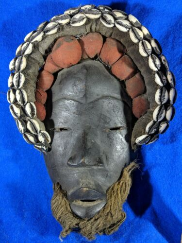 Dan Mask with Fabric and Cowrie Shells — Authentic Handcarved Wood African Art