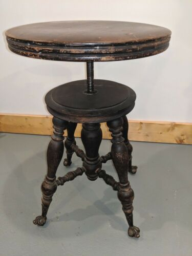 Antique Holtzman Piano Stool Wood Brass Claw/Eye Glass Ball Turn O