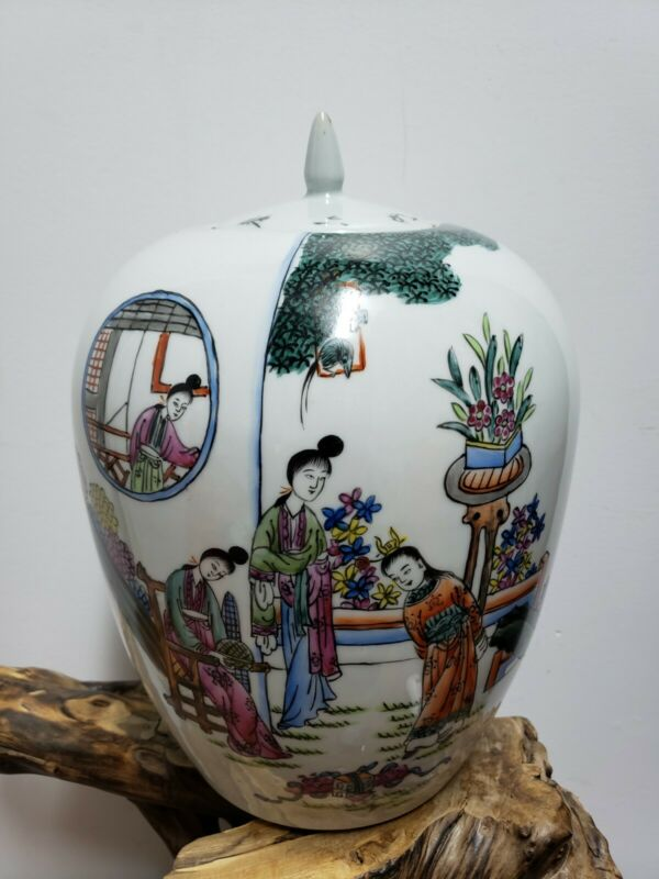 Chinese  Porcelain Families Rose Jar Pot  With Lid