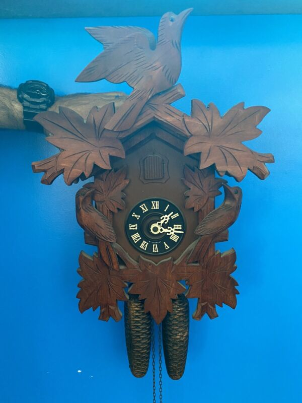 Vintage Black Forest Cuckoo Clock Made in Germany- 3 Bird-8 Day-#7309