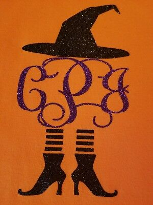 Womens Orange Long Or Short Sleeve Witch Hat & legs Monogram Halloween Shirt  - Halloween Monogrammed Shirts