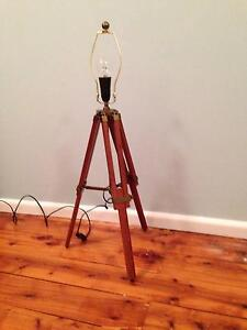 Timber / wooden & antique brass adjustable table lamp base West Ryde Ryde Area Preview