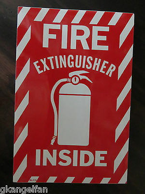 1 Sign Fire Extinguisher Inside With Picture 6x9 Sign Self Adhesive Vinyl