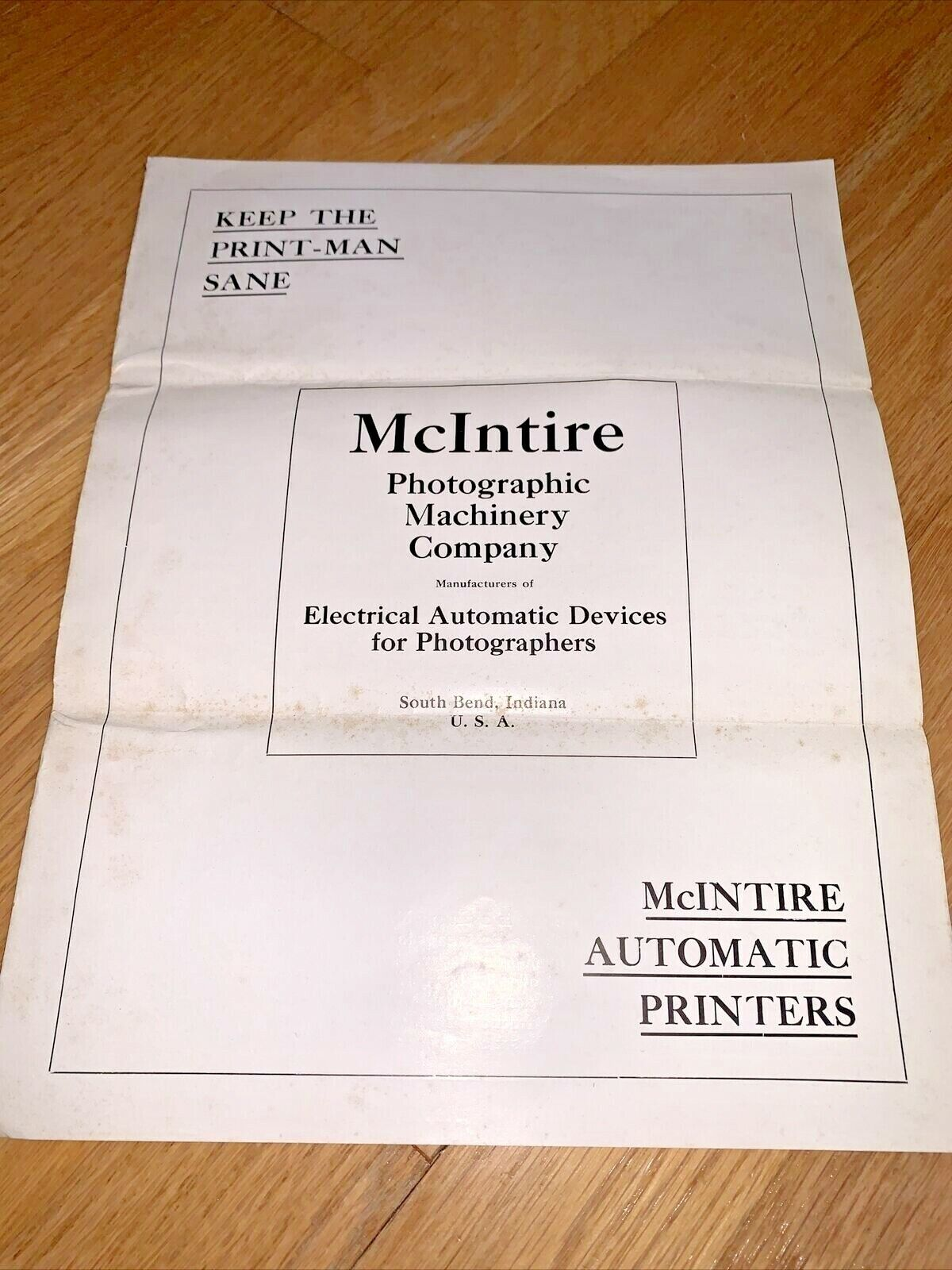 1931 MCINTIRE PHOTO MACHINERY CO. Brochure - Automatic Printers - South Bend IN - $14.95