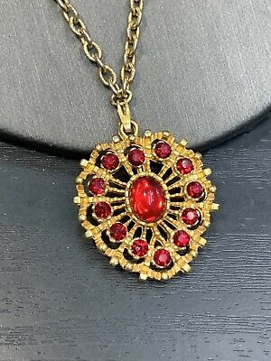 """1950s Jewelry Styles and History Vintage 1950S Gold Pendant Necklace Clasp Red Glass Crystal 18"""" $14.25 AT vintagedancer.com"""