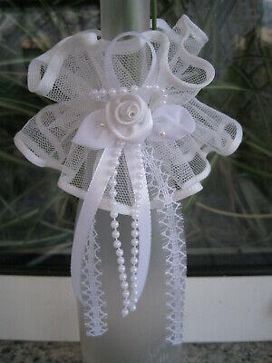 Kerzenschleife Kerzentuch Kerzen Schmuck Taufe Kommunion Hochzeit Blüte weiß