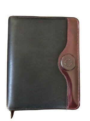 Franklin Covey Quest 7 Ring Planner Black Wburgundy Trim Leather Calfskin Used