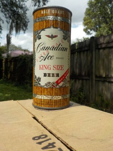 16 OZ CANADIAN ACE EXTRA PALE not premium FLAT TOP OLD BEER CAN HALF QUART