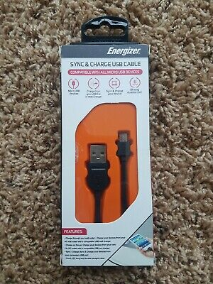 ENERGIZER ENGMCSYBK Sync and Charge USB Cable 6ft - Energizer Usb Sync