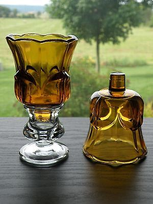 HOMCO Home Interiors Set of 2 Amber Tulip Votive Cup Candle Holder