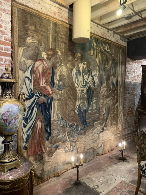 Huge Antique Hand Knotted Wall Hanging Tapestry, Aubusson, 18c