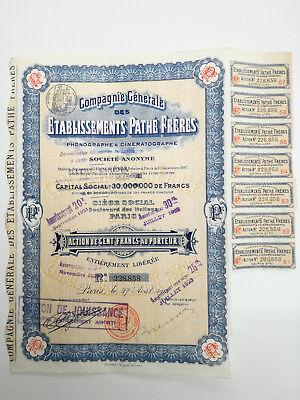 Action et titre COMPAGNIE GENERALE DES ETABLISSEMENTS PATHE FRERES 1922