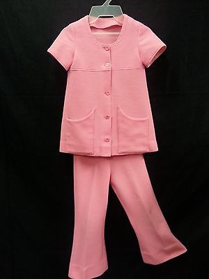 70s Girl Outfit (Vtg 70s Kid Girl 2 Piece Outfit Pink Top Jacket Pants Bell Buttom Disco Hippie)