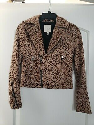 JOIE Ailey Leopard Print Suede Leather Moto Jacket $948, Sz XXS