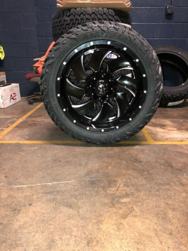 """22x10 D574 Fuel Cleaver Black Wheel & Tire Package 35"""" Fuel Mt 6x135 Ford F150"""