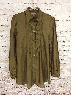 BURBERRY BRIT Womens Gold Cotton/Silk Long Sleeve Blouse SIZE M Button-Down