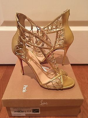 Christian Louboutin MARTHA Gold Leather Cutout Sandals Size 41.5