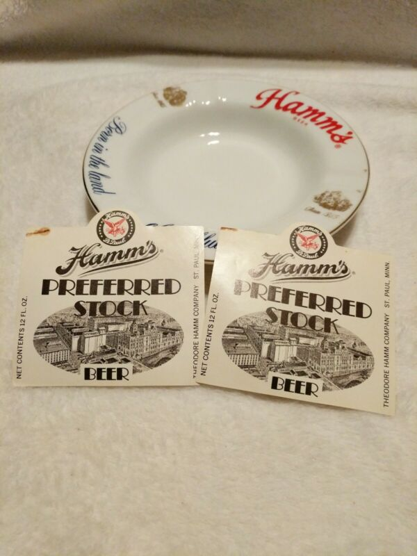 Vintage Hamm's Beer Ashtray Born in the Land of Sky Blue Waters and 2 Labels