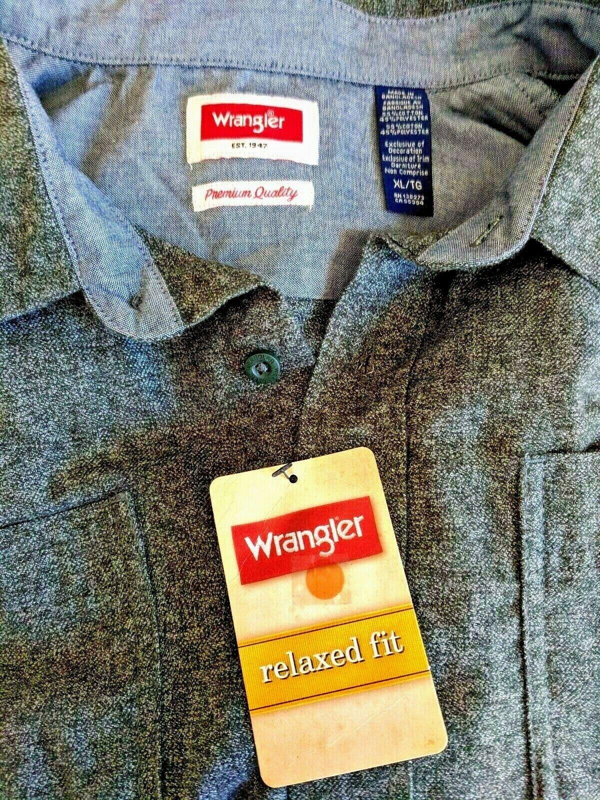 NWT...Men s XL/TG Wrangler Premium Quality , Relaxed Fit, Long Sleeve Shirt - $13.99