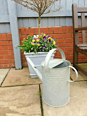 LARGE VINTAGE GALVANISED WATERING CAN LONG REACH SPOUT GARDEN ALLOTMENT VGC