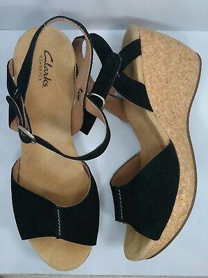 CLARKS ELEMENTS Harwich Sailor Size 12M Black Suede Leather Cork Wedges Heels - Sailor Heels