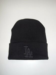 28c3e430 LOS ANGELES DODGERS CUFFED KNIT BEANIE HAT, Black