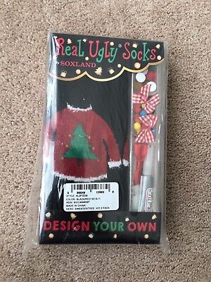 Real Ugly Socks, Design Your Own Christmas Socks, 2 Pack, Sweater & Tree - NEW