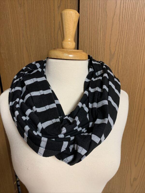 Itzy ritzy nursing cover infinity scarf breastfeeding cover black gray stripes