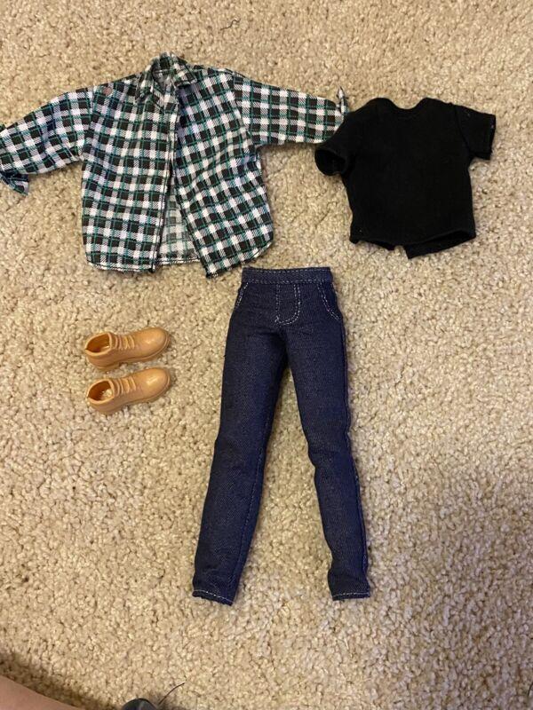 BARBIE & FRIENDS~KEN CLOTHES LOT~FLANNEL SHIRT~JEANS~BOOTS