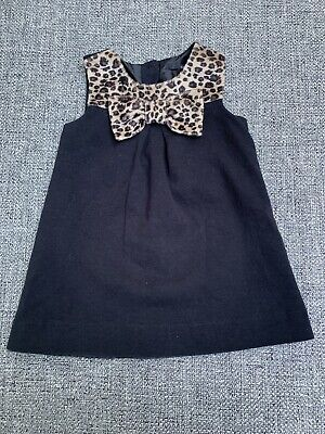 Girl's Tahari Baby Dress Size 18 Months Black With Brown Bow Cute!