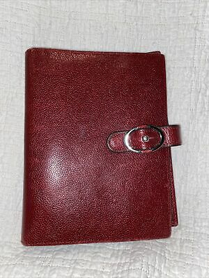 Franklin Covey Organizer Cover Binder Planner Burgundy Pebbled 6 Ring Leather