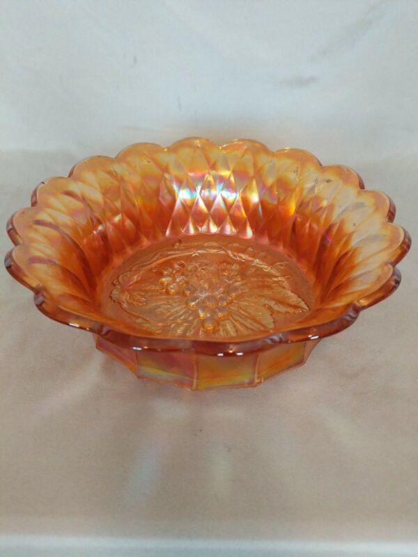 Large Vintage Fire Red Iridescent Carnival Glass Bowl/Candy Dish