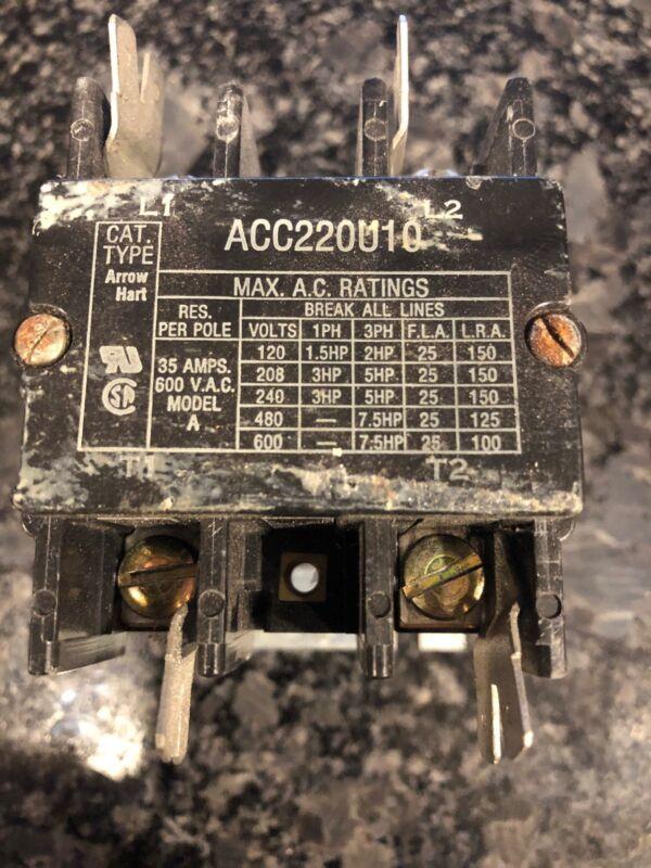 Arrow Hart ACC220U10 35AMP 600VAC MODEL A  CONTACTOR
