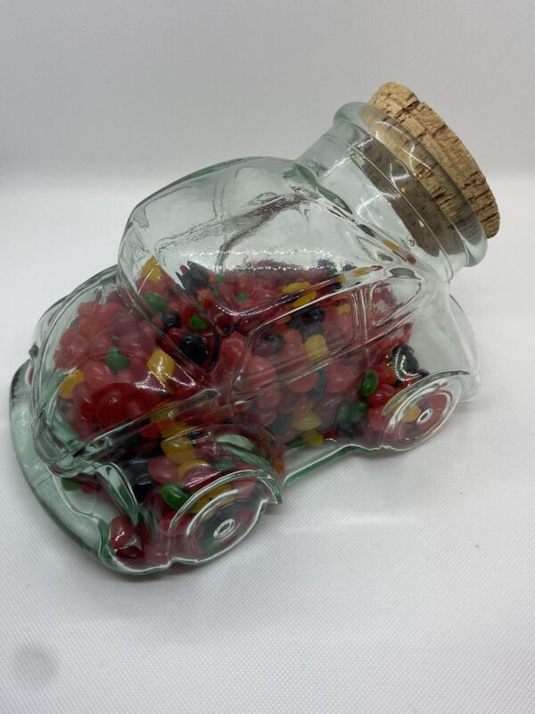 Vintage VW Volkswagen Beetle Bug Glass Cookie Candy Snack Jar w/ Cork Lid