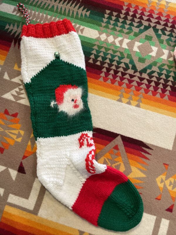 Hand Knit Christmas Stocking w/ANGORA Santa Beard - Vintage Pattern