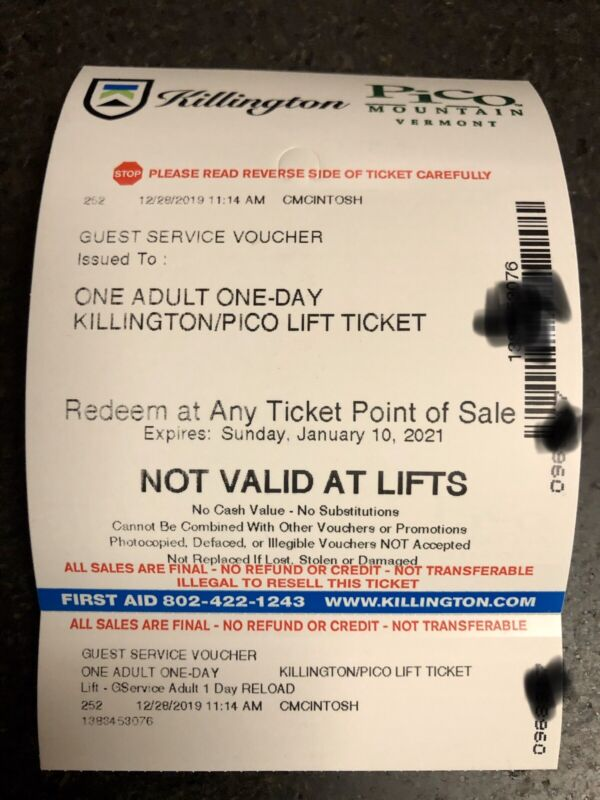 Killington Lift Ticket. 3 available. No black out dates! Expire Jan 2021