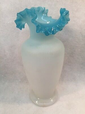 Hand Blown Frosted Glass Vase w/Blue Ruffled Rim