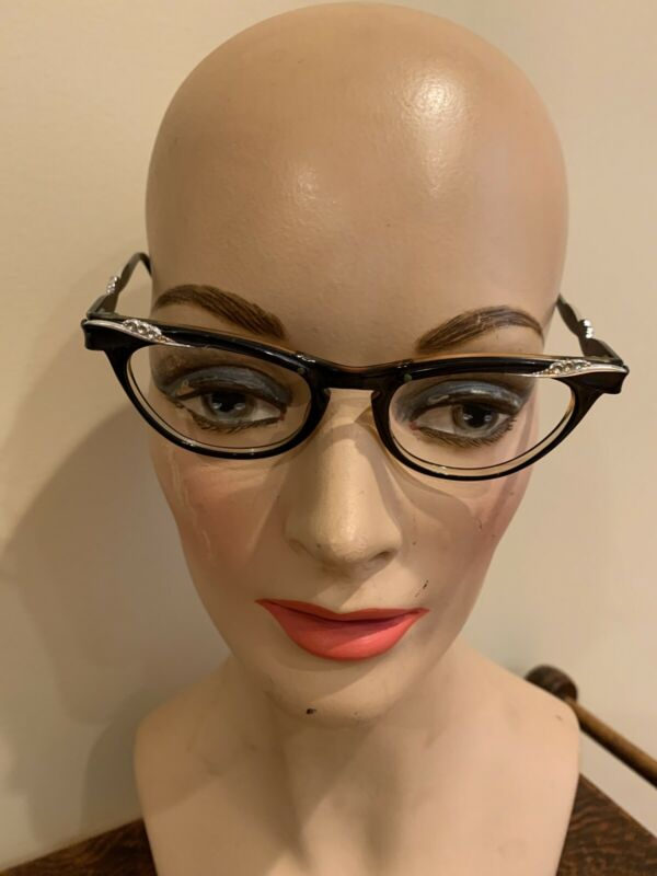 Vintage Aluminum 1950's-1960's Black And Silver Eye Glass Frames W/ Rhinestones