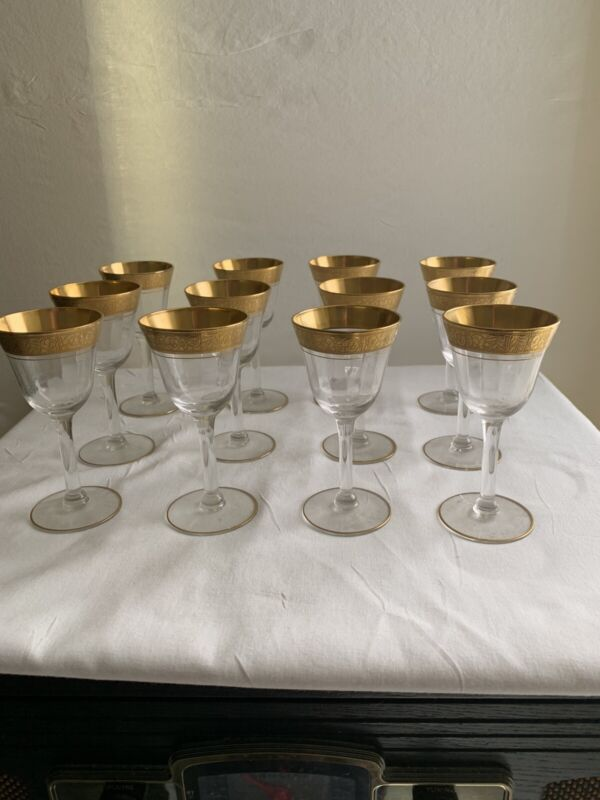 "Vintage 12 Gold Rim Flowers Wine Glasses Goblet Port Glass 4.5"" Stemware"