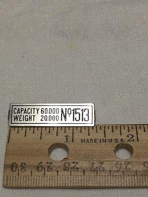 LIONEL & MTH PREWAR STD GAUGE 1513 CATTLE CAR NICKEL NUMBER BOARD NAME PLATE