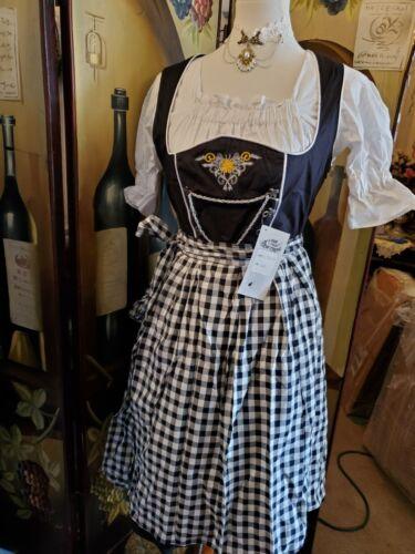 US Sz 10.NEW.Germany,German,Trachten,Oktoberfest,Dirndl Dress,3-pc.Black,Yellow