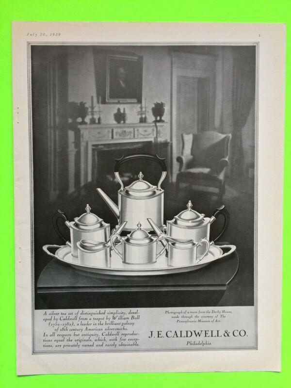 1929 JE Caldwell Philadelphia Sterling Silver Tea Set Advertisement Vogue