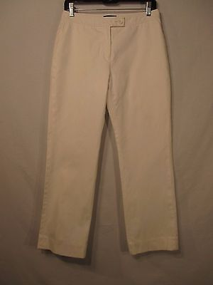 ANN TAYLOR White Cotton Blend Lined Career Dress Pants - Size 4