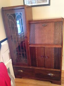 Art Deco secretary desk with glass cabinet, waterfall top