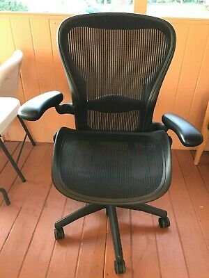 Herman Miller Fully Loaded Size B Aeron Black Chair With Mesh Top 0712002 Nice