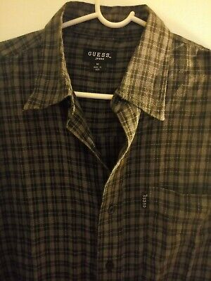 GUESS Mens SHIRT Plaid Button Up short Sleeve Blue Gray Size Medium Heavy *1